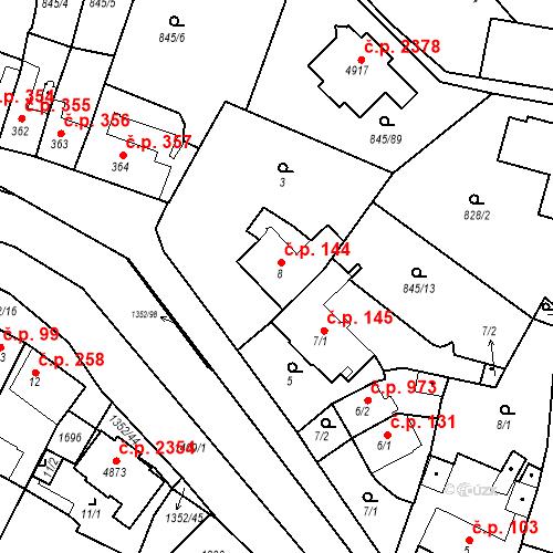 Katastrální mapa Stavební objekt Blansko 144, Blansko