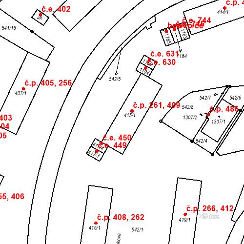 Katastrální mapa Stavební objekt Adamov 261, 409, Adamov