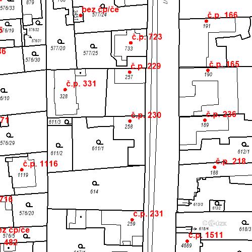 Katastrální mapa Stavební objekt Blansko 230, Blansko