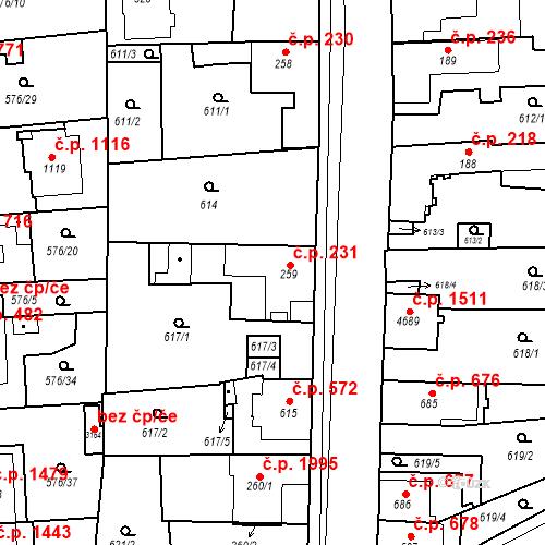 Katastrální mapa Stavební objekt Blansko 231, Blansko