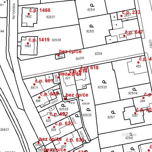 Katastrální mapa Stavební objekt Blansko 618, Blansko