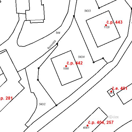 Katastrální mapa Stavební objekt Adamov 442, Adamov