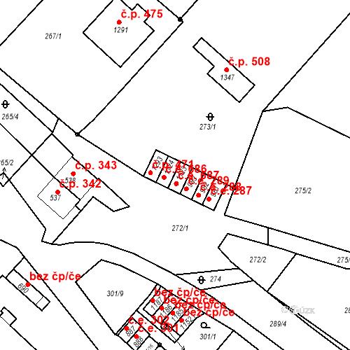 Katastrální mapa Stavební objekt Adamov 687, Adamov