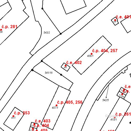 Katastrální mapa Stavební objekt Adamov 402, Adamov