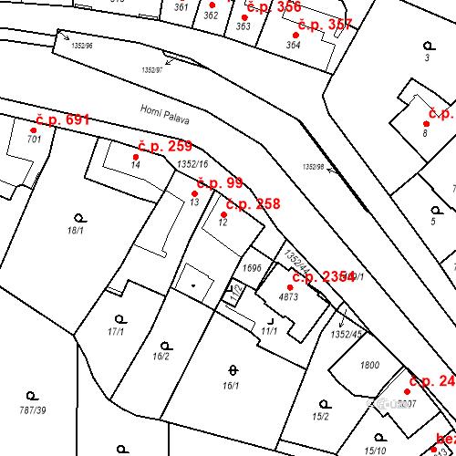 Katastrální mapa Stavební objekt Blansko 258, Blansko