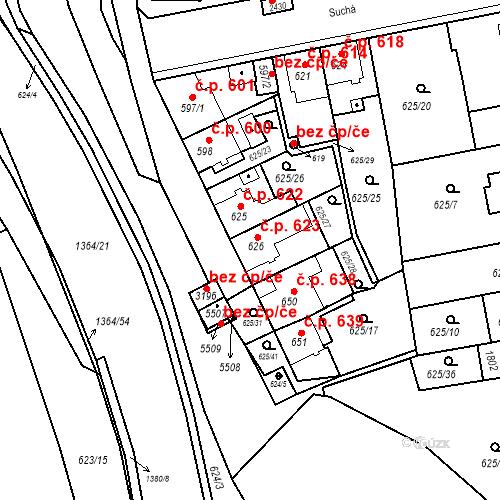 Katastrální mapa Stavební objekt Blansko 623, Blansko