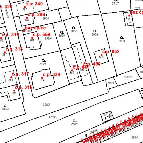 Katastrální mapa Stavební objekt Bílovice nad Svitavou 301, Bílovice nad Svitavou