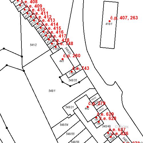 Katastrální mapa Stavební objekt Adamov 743, Adamov
