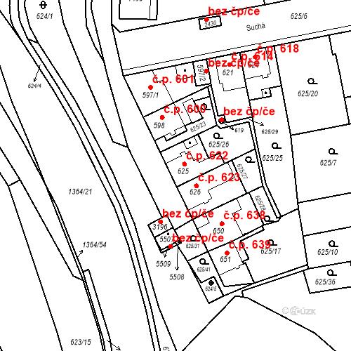 Katastrální mapa Stavební objekt Blansko 622, Blansko