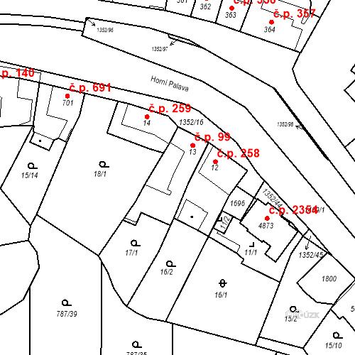 Katastrální mapa Stavební objekt Blansko 99, Blansko