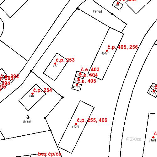 Katastrální mapa Stavební objekt Adamov 404, Adamov
