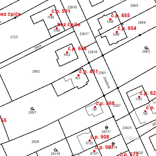 Katastrální mapa Stavební objekt Bílovice nad Svitavou 451, Bílovice nad Svitavou