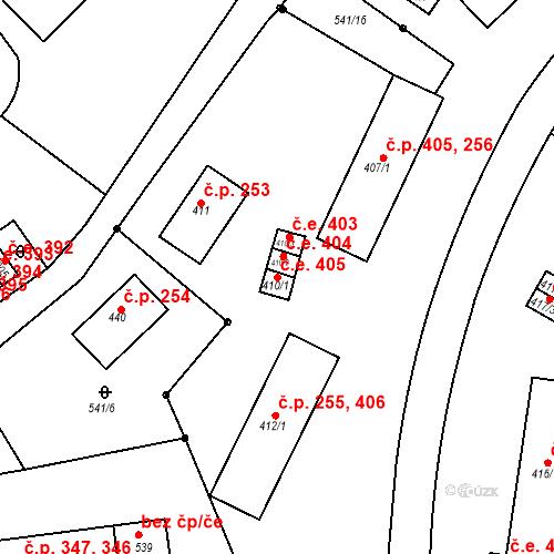 Katastrální mapa Stavební objekt Adamov 405, Adamov