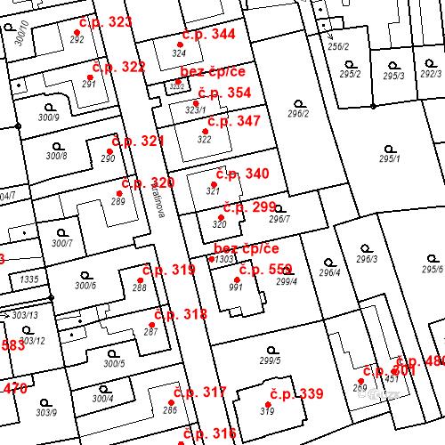 Katastrální mapa Stavební objekt Bílovice nad Svitavou 299, Bílovice nad Svitavou