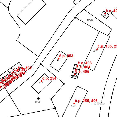 Katastrální mapa Stavební objekt Adamov 253, Adamov