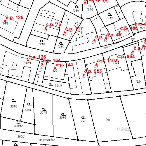 Katastrální mapa Stavební objekt Bílovice nad Svitavou 523, Bílovice nad Svitavou