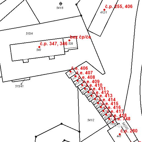 Katastrální mapa Stavební objekt Adamov 406, Adamov