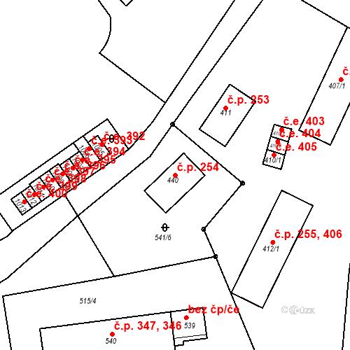 Katastrální mapa Stavební objekt Adamov 254, Adamov