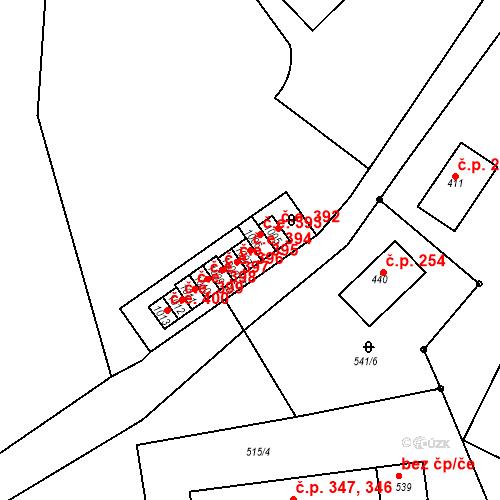 Katastrální mapa Stavební objekt Adamov 394, Adamov