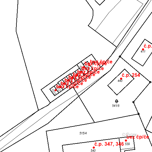 Katastrální mapa Stavební objekt Adamov 395, Adamov