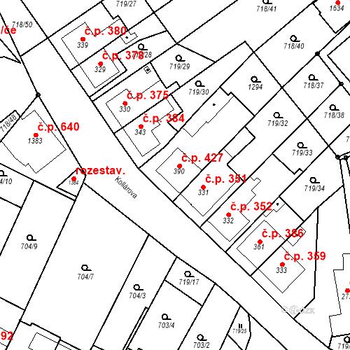 Katastrální mapa Stavební objekt Bílovice nad Svitavou 427, Bílovice nad Svitavou