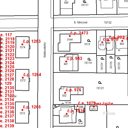 Katastrální mapa Stavební objekt Blansko 943, Blansko