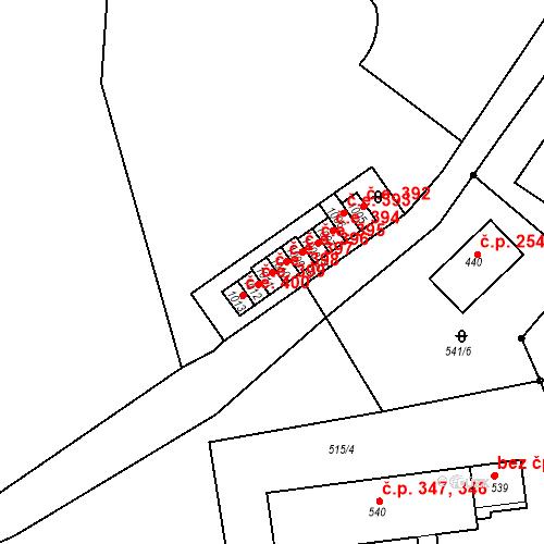 Katastrální mapa Stavební objekt Adamov 398, Adamov