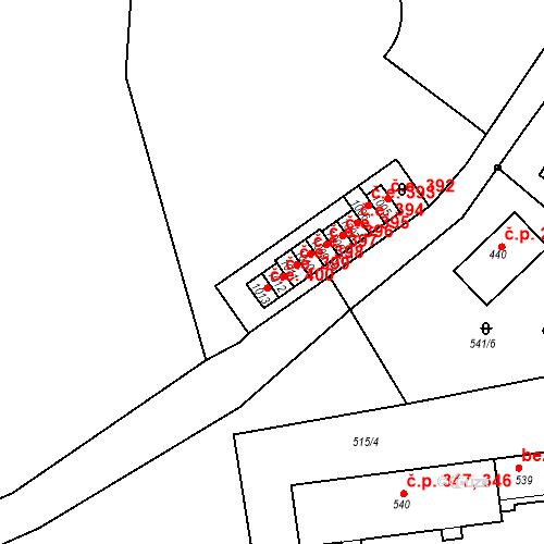 Katastrální mapa Stavební objekt Adamov 399, Adamov