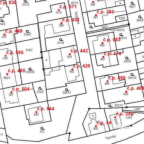Katastrální mapa Stavební objekt Bílovice nad Svitavou 426, Bílovice nad Svitavou