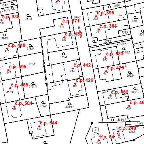 Katastrální mapa Stavební objekt Bílovice nad Svitavou 442, Bílovice nad Svitavou
