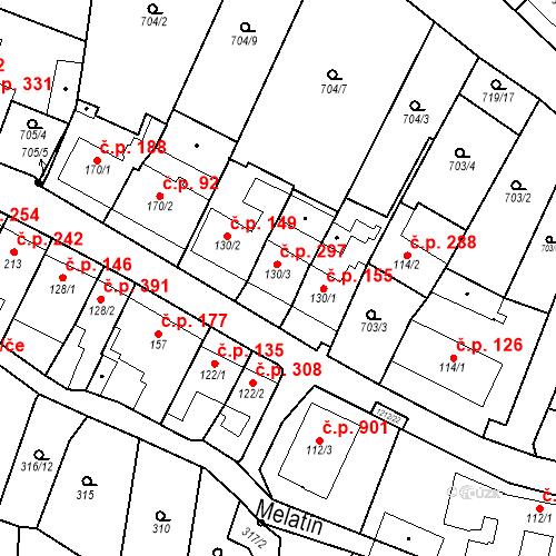 Katastrální mapa Stavební objekt Bílovice nad Svitavou 297, Bílovice nad Svitavou
