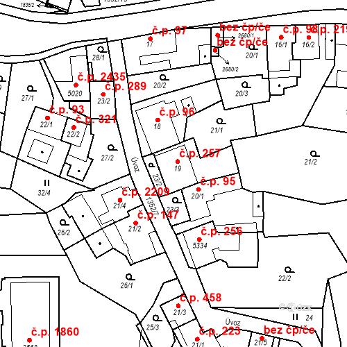 Katastrální mapa Stavební objekt Blansko 257, Blansko