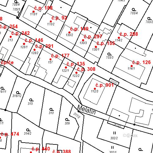 Katastrální mapa Stavební objekt Bílovice nad Svitavou 308, Bílovice nad Svitavou