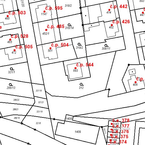 Katastrální mapa Stavební objekt Bílovice nad Svitavou 544, Bílovice nad Svitavou