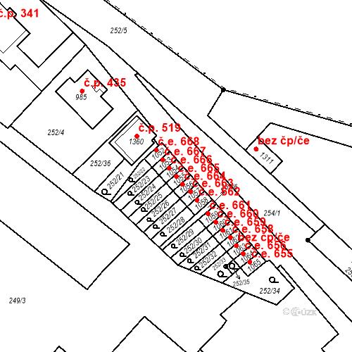Katastrální mapa Stavební objekt Adamov 665, Adamov