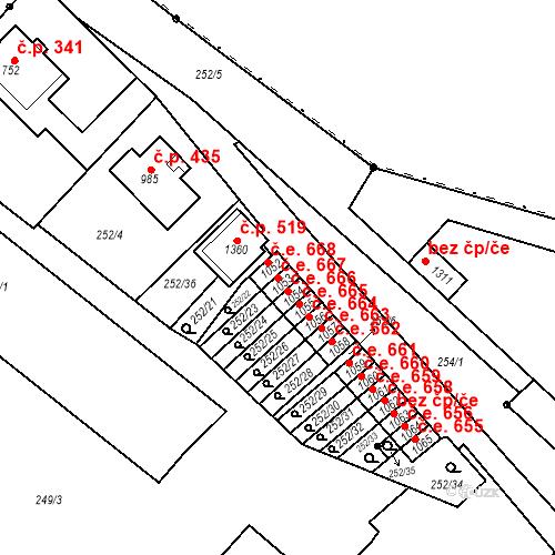 Katastrální mapa Stavební objekt Adamov 667, Adamov