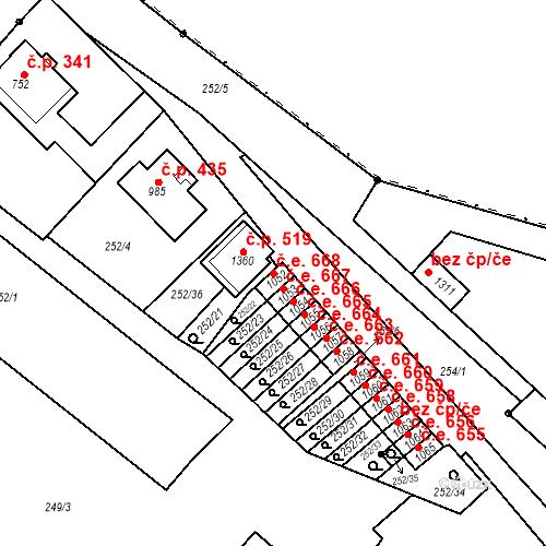 Katastrální mapa Stavební objekt Adamov 668, Adamov