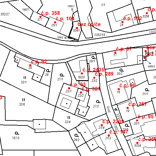 Katastrální mapa Stavební objekt Blansko 2435, Blansko