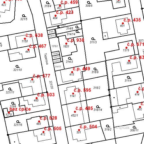 Katastrální mapa Stavební objekt Bílovice nad Svitavou 449, Bílovice nad Svitavou