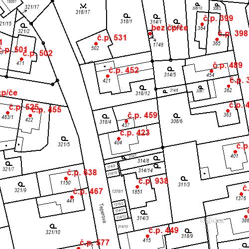 Katastrální mapa Stavební objekt Bílovice nad Svitavou 459, Bílovice nad Svitavou