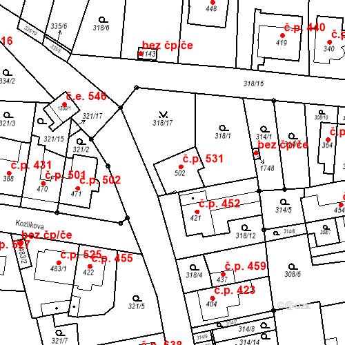 Katastrální mapa Stavební objekt Bílovice nad Svitavou 531, Bílovice nad Svitavou