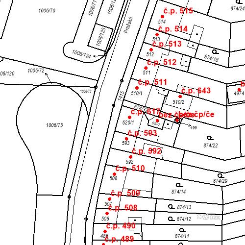Katastrální mapa Stavební objekt Blansko 617, Blansko