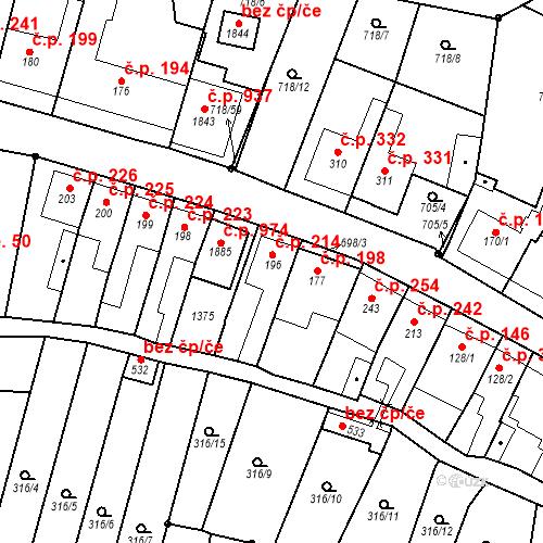 Katastrální mapa Stavební objekt Bílovice nad Svitavou 214, Bílovice nad Svitavou