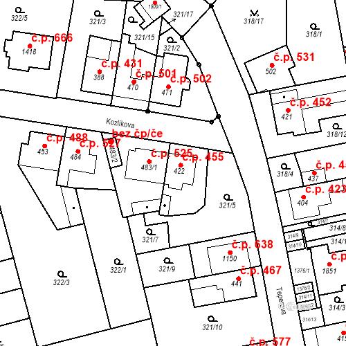 Katastrální mapa Stavební objekt Bílovice nad Svitavou 455, Bílovice nad Svitavou