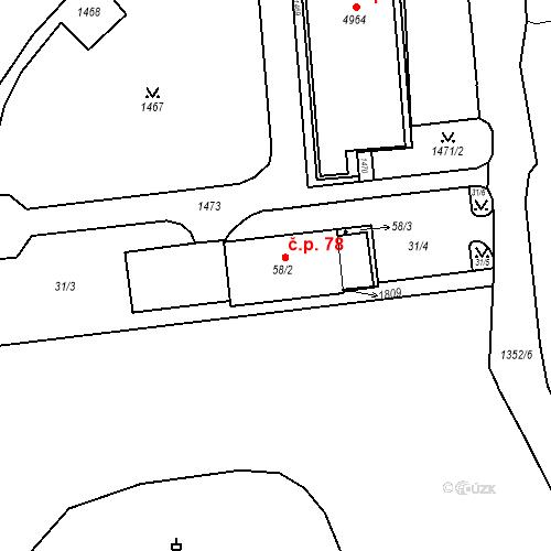 Katastrální mapa Stavební objekt Blansko 78, Blansko