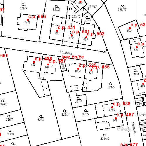 Katastrální mapa Stavební objekt Bílovice nad Svitavou 525, Bílovice nad Svitavou