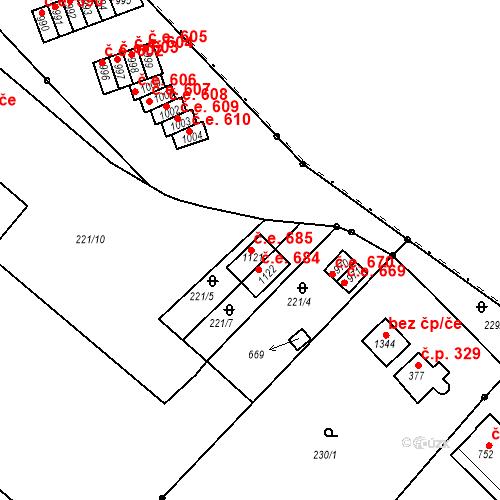 Katastrální mapa Stavební objekt Adamov 685, Adamov
