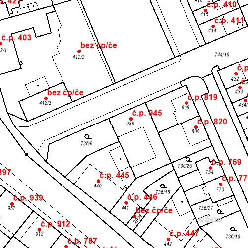 Katastrální mapa Stavební objekt Blansko 945, Blansko