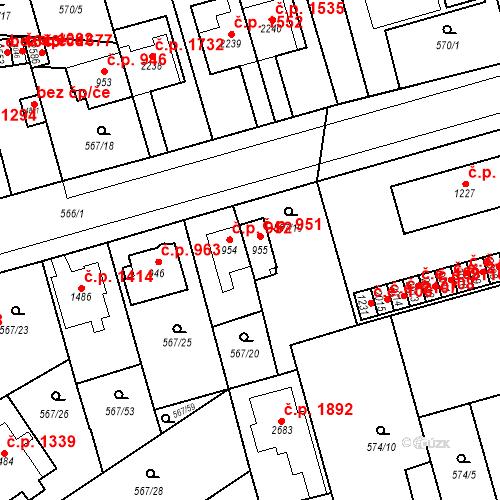 Katastrální mapa Stavební objekt Blansko 951, Blansko