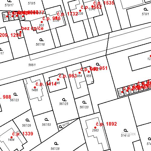 Katastrální mapa Stavební objekt Blansko 952, Blansko